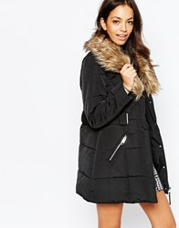 New Look Shawl Padded Coat With Fur Collar Black