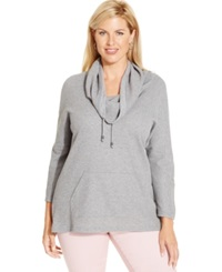 Style And Co. Sport Plus Size Cowl Neck Thermal Hoodie Only At Macy's Medium Grey Heather
