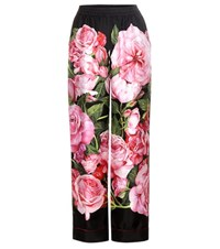 Dolce And Gabbana Floral Printed Silk Trousers Multicoloured