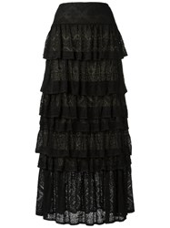 Cecilia Prado Knit Maxi Skirt Women Acrylic Lurex Viscose M Black