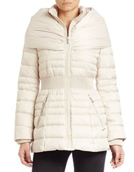 Laundry By Shelli Segal Fitted Puffer Coat Pearl White