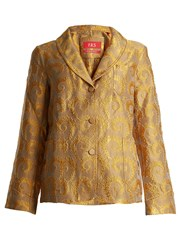 F.R.S For Restless Sleepers Arabesque Shawl Lapel Brocade Jacket Gold Multi