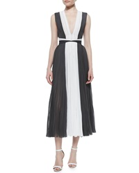 J. Mendel Mag Colorblock Pleated Cocktail Dress