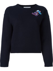 Carven Logo Print Jumper Blue