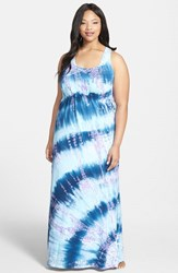 Plus Size Women's Hard Tail Surplice Side Tie Racerback Maxi Dress Blue Lavender Tie Dye