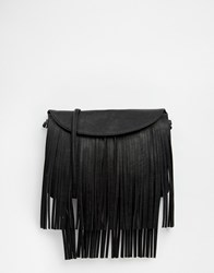 Monki Fringed Cross Body Bag Black