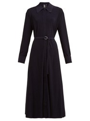 Norma Kamali Tie Waist Jersey Dress Navy