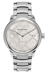 Burberry Check Stamped Bracelet Watch 40Mm Silver White