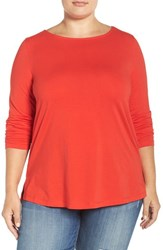 Sejour Plus Size Women's Ballet Neck Long Sleeve Tee Red Bloom