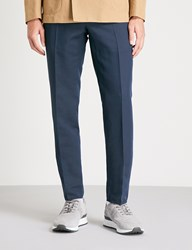 Slowear Slim Fit Tapered Linen And Cotton Blend Chinos Navy