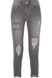 Sjyp Cropped Distressed Mid Rise Skinny Jeans Gray