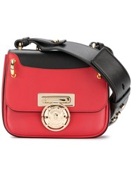 Balmain Contrast Strap Crossbody Bag Leather Metal Other Red