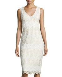 Nicole Miller New York V Neck Embroidered Sheath Cocktail Dress White Gold