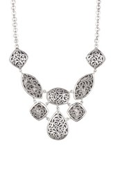 Lois Hill Sterling Silver Large Classic Bib Necklace Metallic