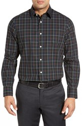 Men's Big And Tall Nordstrom Smartcare Wrinkle Free Regular Fit Plaid Sport Shirt Green Forest Red Rosewood