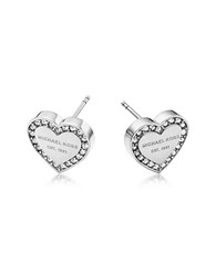 Michael Kors Heritage Stainless Heart Earrings W Crystals Silver