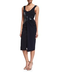 Versace Draped Sleeveless Cocktail Dress W Beading Midnight Black Women's Size 36