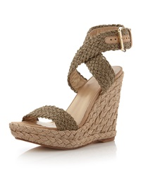 Stuart Weitzman Alex Crochet Wedge Sandal Swamp