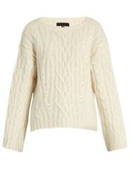 Nili Lotan Ryder Cable Knit Alpaca Blend Sweater Ivory