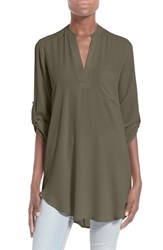 Women's Lush 'Perfect' Roll Tab Sleeve Tunic New Olive