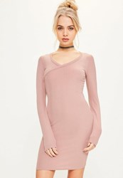 Missguided Pink Ribbed Cross Front Bodycon Dress