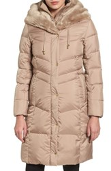 Cole Haan Women's 3 4 Down Coat With Faux Fur Hood Sand
