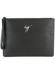 Giuseppe Zanotti Design Crocodile Embossed Clutch Black