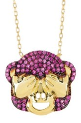 Gab Cos Designs Gold Vermeil See No Evil Monkey Cz Accented Pendant Necklace