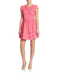 Romeo And Juliet Couture Lace Inset Fit And Flare Dress Pink Fuchsia