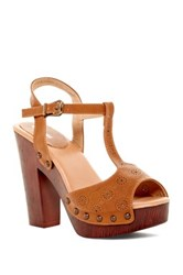 Top Guy Wooden T Strap Sandal Brown