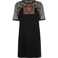 River Island Black Mesh Embroidered T Shirt Dress