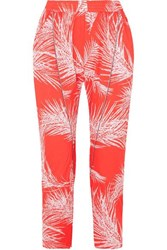 Paradised Naish Cord Trimmed Printed Voile Tapered Pants Large