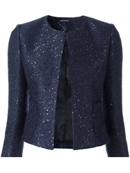 Tagliatore Sequin Embellished Cropped Jacket Blue
