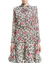 Valentino Floral Waves Tie Neck Ruffle Blouse Multi