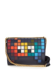 Anya Hindmarch Space Invaders Ephson Leather Shoulder Bag Blue Multi