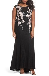 Decode 1.8 Plus Size Women's Floral Embroidered Lace Gown Black Blush