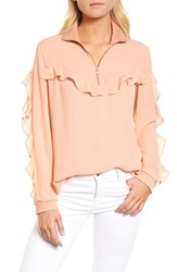 Trouve Ruffle Track Top Coral Muted