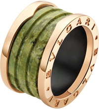 Bulgari B.Zero1 Four Band 18Ct Pink Gold And Green Marble Ring