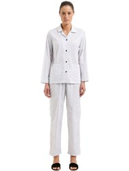 Mazzoni Cotton Poplin Pajama Shirt And Pants White Blue