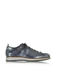 Forzieri Italian Handcrafted Black Blue Washed Leather Sneaker