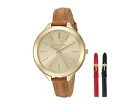 Michael Kors Mk2606 Slim Runway Interchangeable Gift Set Gold Tan Black Red Watches