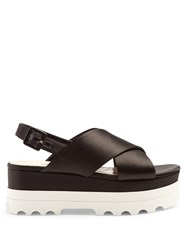 Miu Miu Crossover Satin Flatform Sandals Black