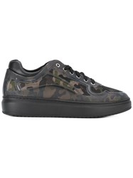 Pollini Camouflage Print Sneakers Green
