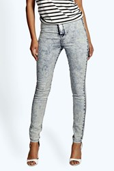 Boohoo High Waist Acid Wash Tube Jean Blue