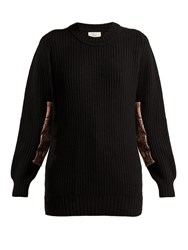 Hillier Bartley Contrast Panel Cashmere Sweater Black Pink