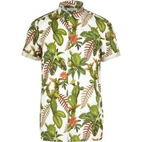 River Island Mens Green Cactus Flower Print Short Sleeve Shirt