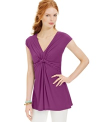Miraclesuit Shaping Cap Sleeve Draped Top Purple