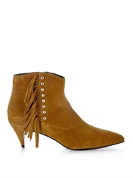 Saint Laurent Cat Fringed And Studded Suede Ankle Boots