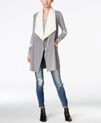 Chelsea Sky Sherpa Trim Draped Vest Only At Macy's Heather Grey