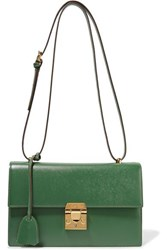 Mark Cross Downtown Textured Leather Shoulder Bag Dark Green